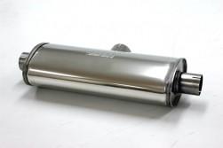 V2A Schalldämpfer oval 76mm auf 2x 63mm für Sportauspuff Type4