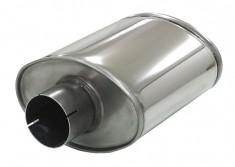 V2A Schalldämpfer oval 76mm mittig Sportauspuff Type2