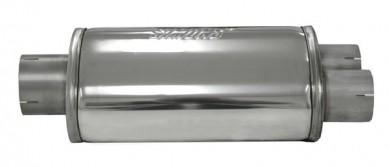 V2A Schalldämpfer oval 1x76mm rein 2x 63mm raus für Sportauspuff Type 6